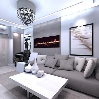 камин в современном интерьере квартиры