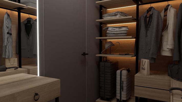 Полки с подсветкой в гардеробной комнате