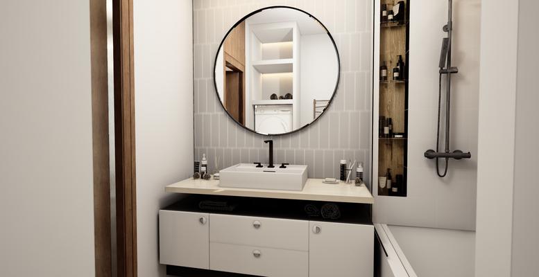 круглое зеркало в ванной комнате