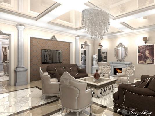 гостиная в классическом стиле бежевых тонов