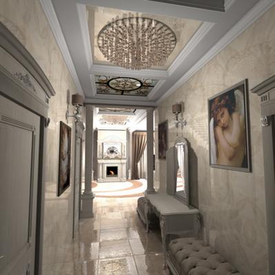 дизайн интерьера загородного дома и круглая люстра с кристаллами