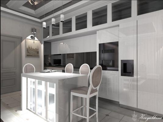 кухня на заказ с антресольным рядом белый глянец