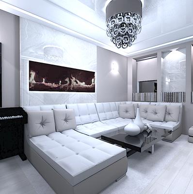 интерьер гостиной в современном стиле модульный диван
