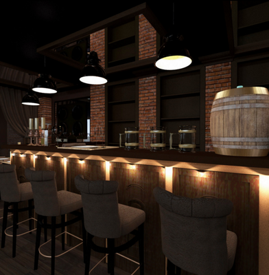 барная стойка для проекта дизайна ресторана на заказ