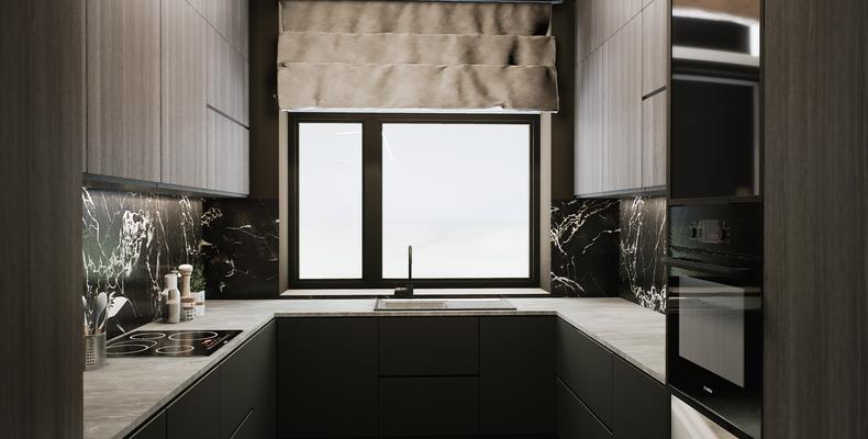 Дизайн темной кухни с окном