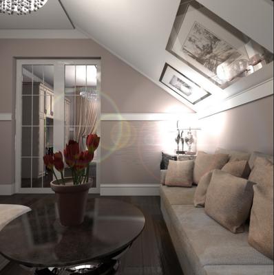 интерьер гостевой спальни на мансарде в проекте загородного дома