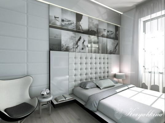 спальня в современном стиле и белом цвете фотопанно чб