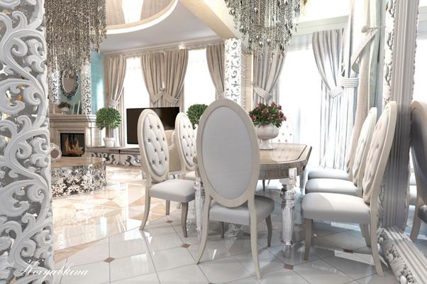 белые стулья в интерьере классика