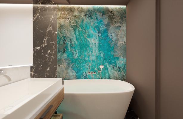 Голубой оникса в ванной и островная ванна