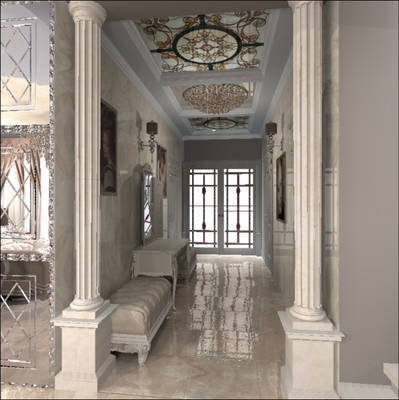колонны в дизайне интерьера загородного дома а так же витраж на потолке