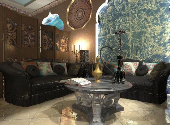 интерьер кальянной с черными диванами