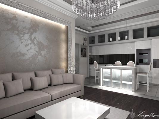 кухня объединенная с гостиной в дизайне квартиры