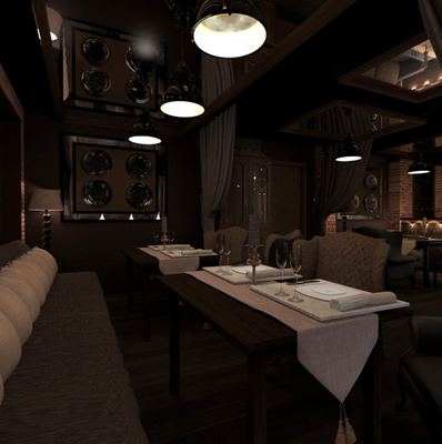 проект интерьера общего зала в ресторане