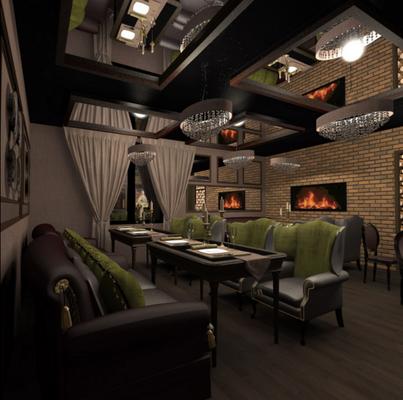 кожаная мебель в дизайне ресторана