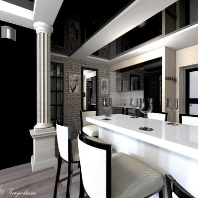 черный глянцевый потолок на заказ в интерьере квартиры