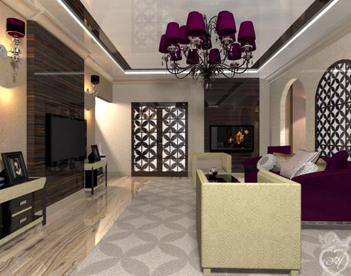 гостиная в современном восточном стиле