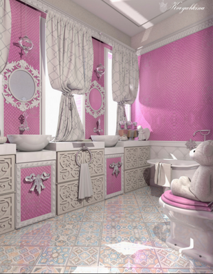 интерьер розовой ванной комнаты
