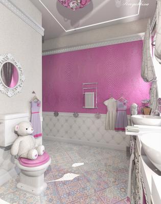 розовые обои для ванной в интерьере