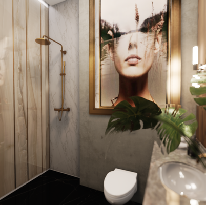 Ванная комната в проекте коттеджа