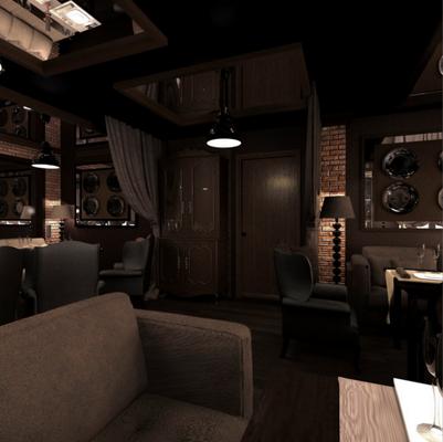 коричневые кресла и мебель в дизайне кафе