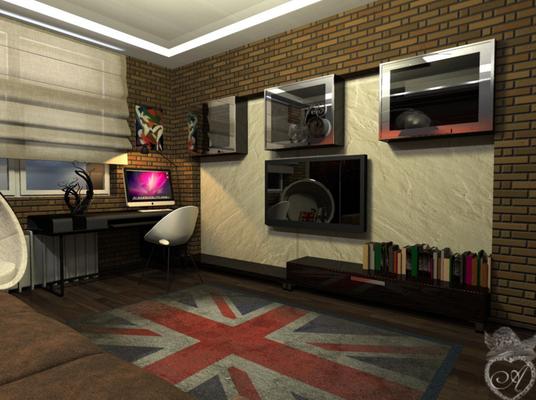 британский флаг на ковре в дизайне интерьера квартиры