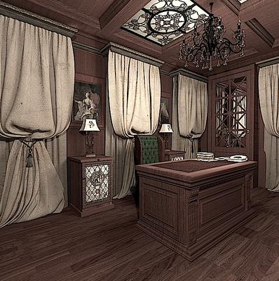 обшивка стен красным деревом в интерьере кабинета