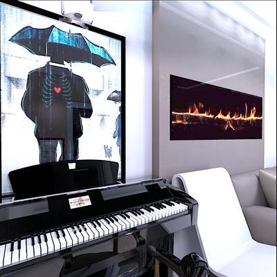 дизайн интерьера с пианино и камином