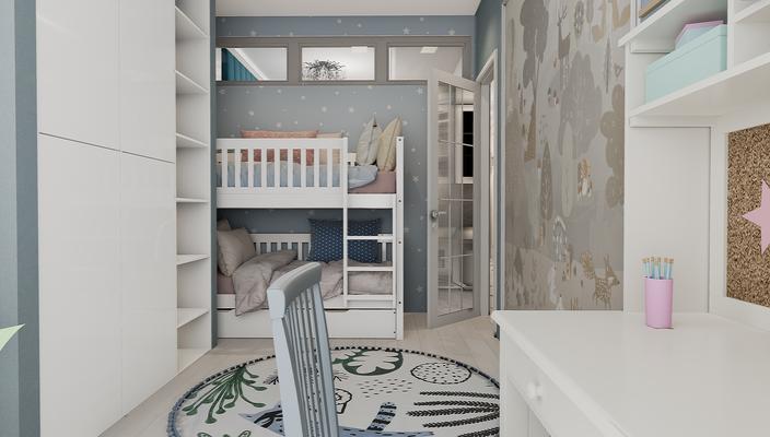Двухярусная кровать в детской. Дизайнер интерьера Анастасия Корябкина