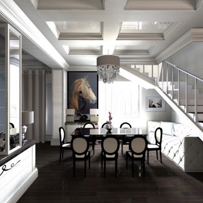 дизайн интерьера обеденной группы около лестницы