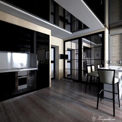 черная кухня в интерьере проекта для холостяка лофт