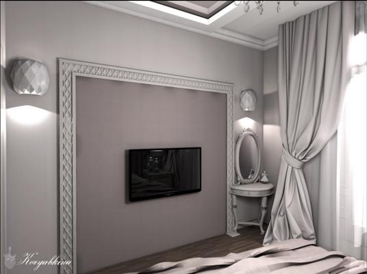 ниша под тв в интерьере спальни в классическом стиле