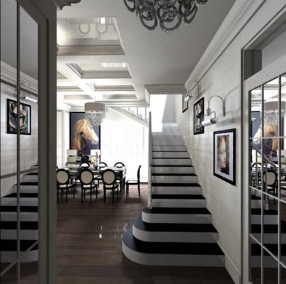 дизайн лестницы в проекте загородного дома
