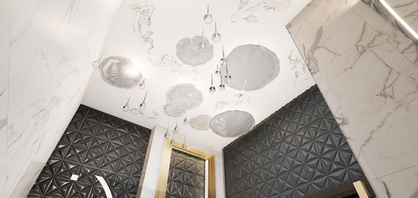 Барельефные светильники медузы в дизайне ванной