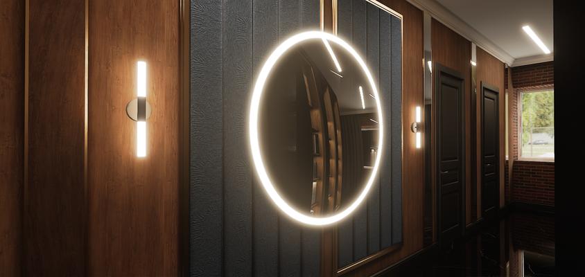 Панель с зеркалом в интерьере дома