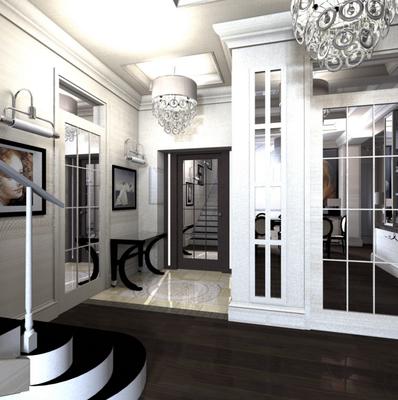 дизайн интерьера прихожей в интерьере загородного дома
