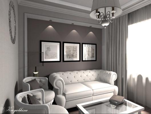 кабинет в дизайне квартиры и белый диван честер