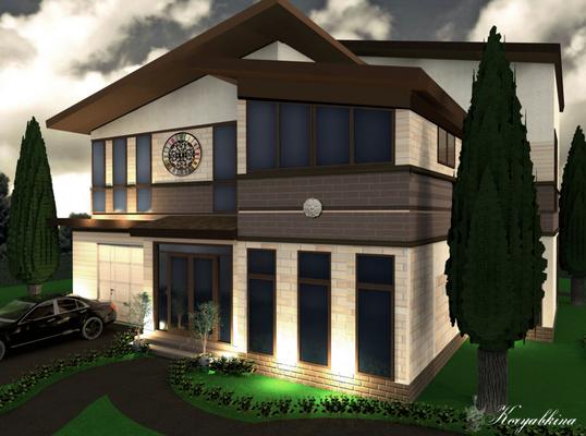 дизайн фасада загородного дома в классическом стиле