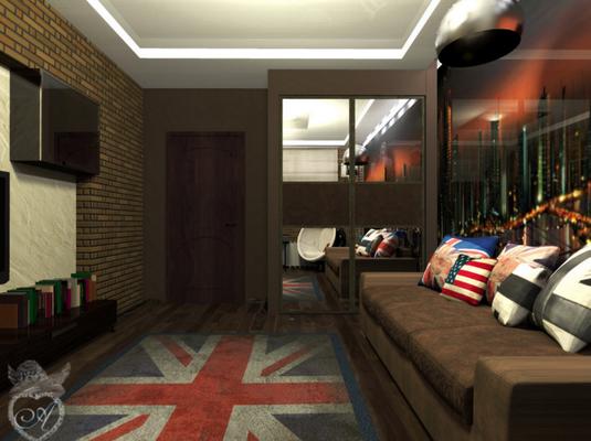 подушки с флагами в интерьере комнаты подрсотка