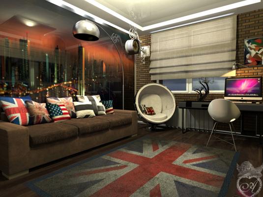 дизайн комнаты подростка с британским флагом