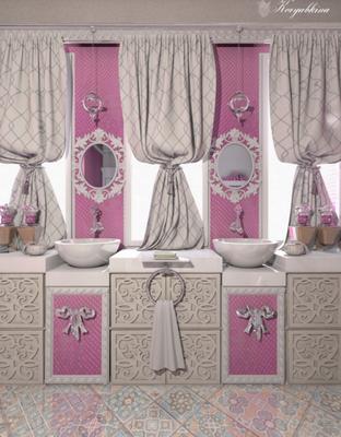 розовая ванная комната для девочек
