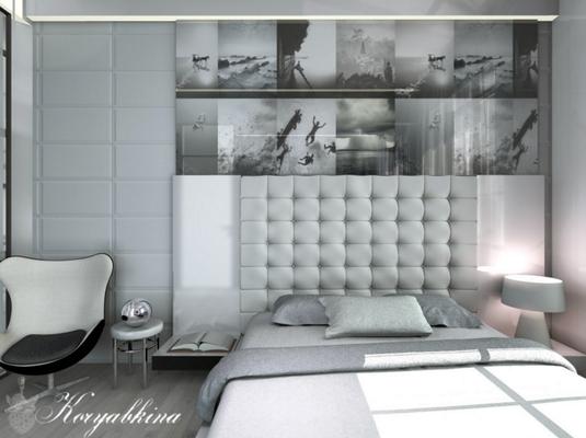 дизайн интерьера спальни с белой кроватью