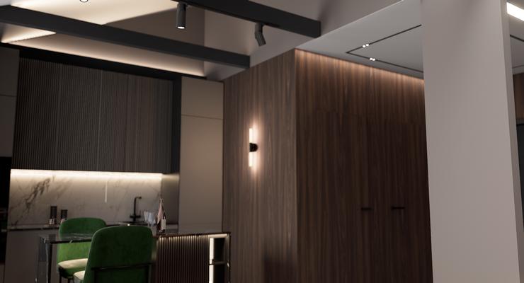 Темная кухня в интерьере квартиры