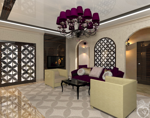 дизайн интерьера гостиной в современном восточном стиле