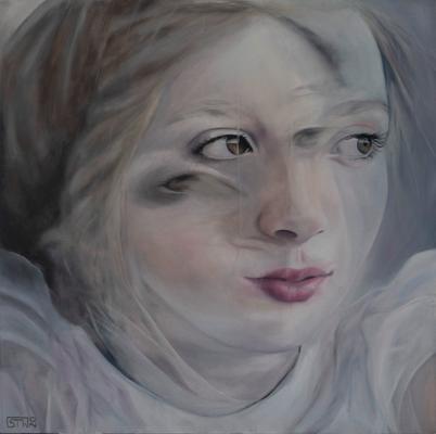 GIRL IN A MOMENT · 2020 · oil on linen 100X100cm