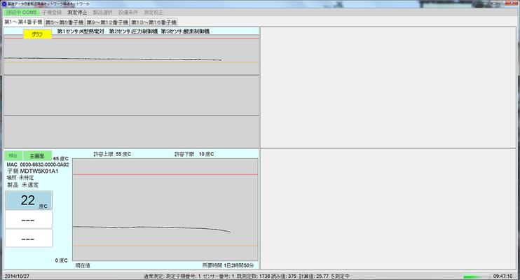 測定画面:測定中に表示される画面です。