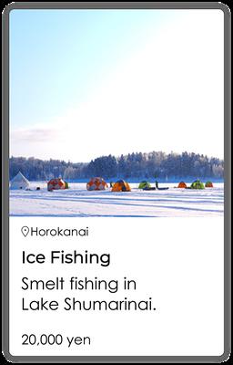 Ice fishing Smelt fishing in Lake Shumarinai.