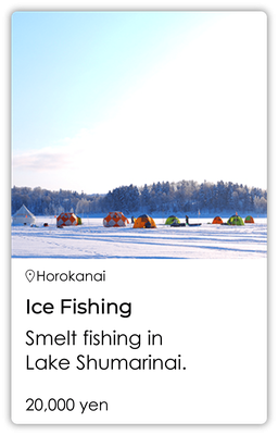 Ice fishing Smelt fishing in Lake Shumarinai.
