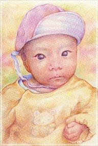 色鉛筆似顔絵  写実 リアル 赤ちゃん