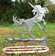 Girouette transportable: licorne