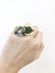 Clews & Mazes Ring, Bronze emailliert, mit Goldpigmenten und isländischem Moos, € 360.-